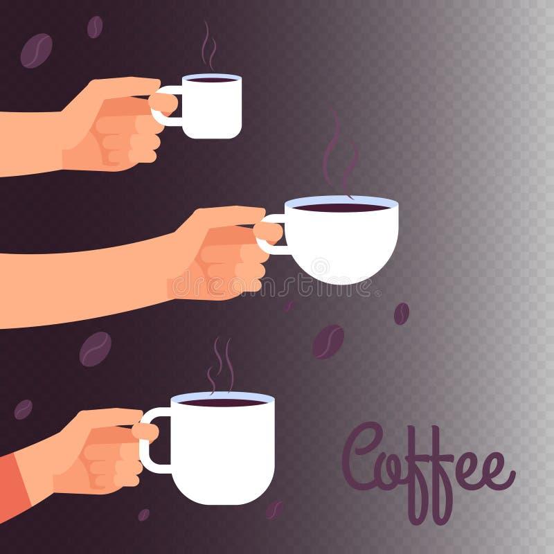 Fondo dell'insegna di vettore del caffè con le mani che tengono le tazze della bevanda calda illustrazione vettoriale
