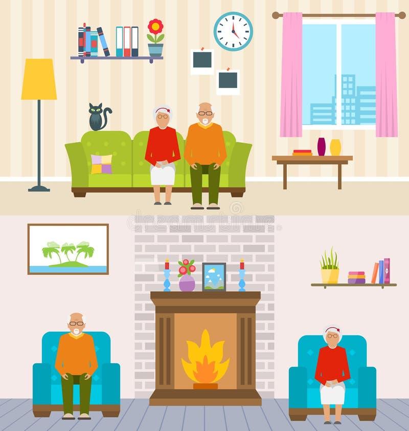 Fondo dell'interno della casa per anziani Caratteri invecchiati, mobilia della famiglia, pensione royalty illustrazione gratis