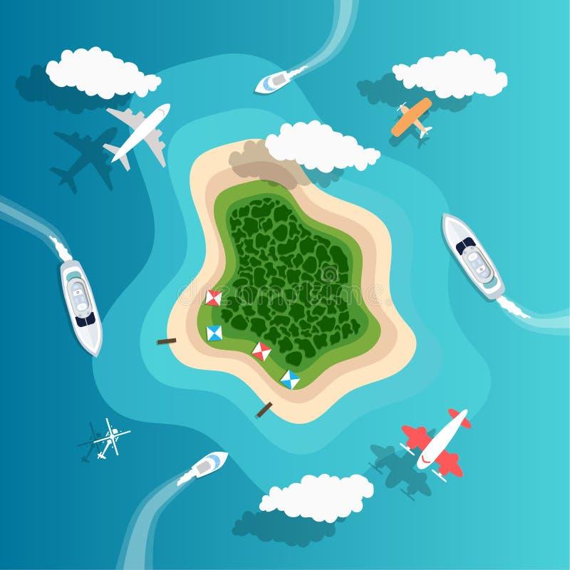 Fondo dell'isola di Paradise di estate per il tema di festa illustrazione vettoriale