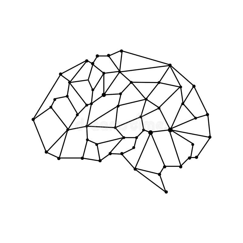 Fondo dell'isolato della maglia del cervello di vettore Disegno dell'illustrazione illustrazione di stock