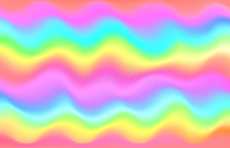 Fondo dell'onda dell'arcobaleno dell'unicorno Modello della galassia della sirena illustrazione di stock