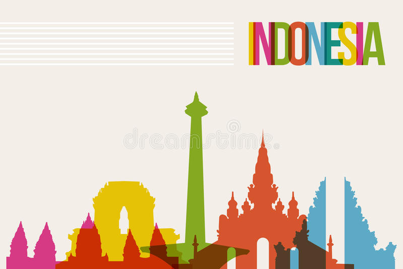 Fondo dell'orizzonte dei punti di riferimento della destinazione dell'Indonesia di viaggio