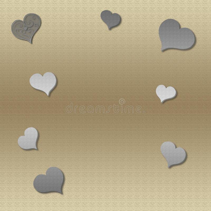 Fondo dell'oro con i cuori d'argento illustrazione di stock