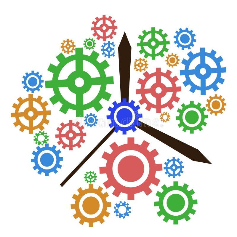 Fondo dell'orologio dell'ingranaggio di colore illustrazione vettoriale
