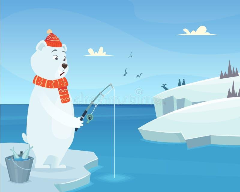 Fondo dell'orso bianco Carattere stante animale di vettore di inverno del ghiaccio dell'iceberg nello stile del fumetto illustrazione vettoriale