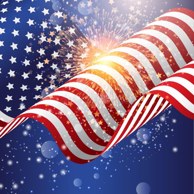 Fondo della bandiera americana con il fuoco d'artificio illustrazione di stock