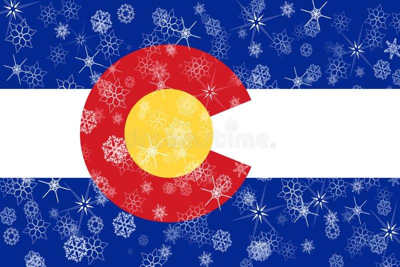 Fondo della bandiera dei fiocchi di neve di inverno di Colorado Gli Stati Uniti d'America illustrazione di stock