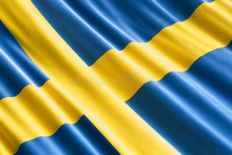 Fondo della bandiera dello svedese, 3D illustrazione vettoriale