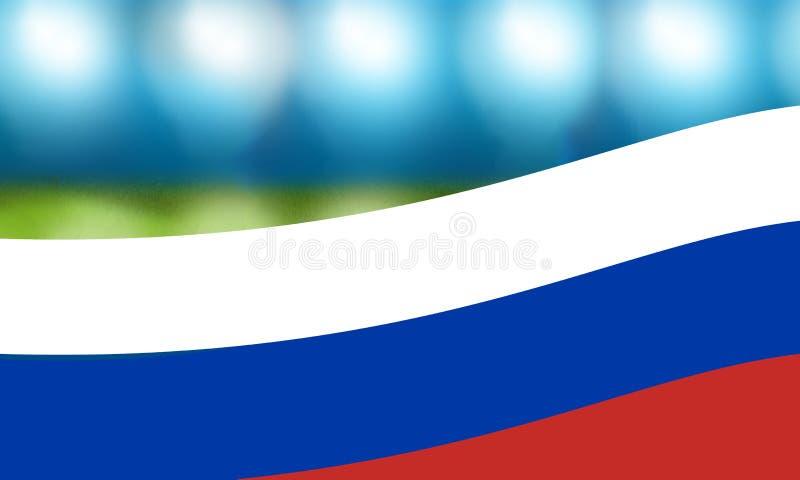 Fondo della bandiera di calcio della Russia di calcio fotografia stock