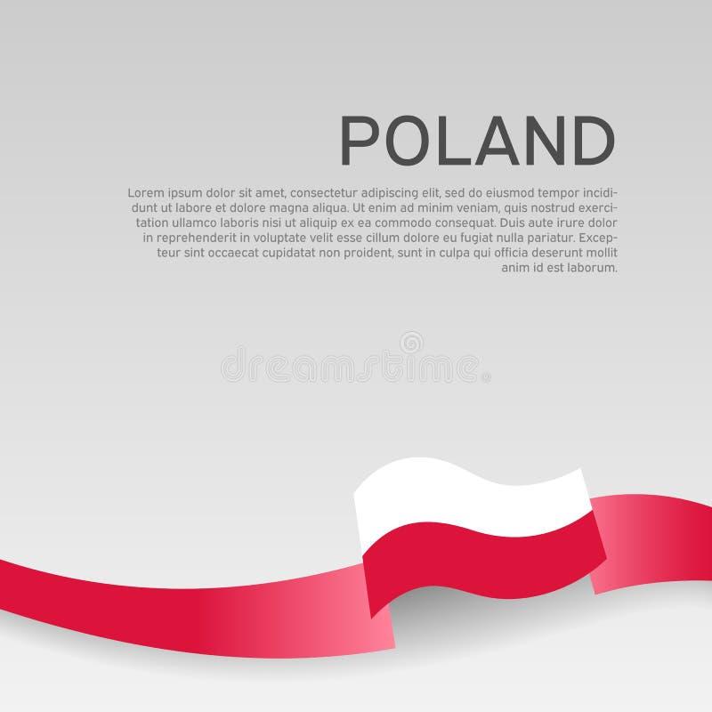 Fondo della bandiera della Polonia Colori ondulati della bandiera della Polonia del nastro su fondo bianco Manifesto nazionale Di illustrazione vettoriale