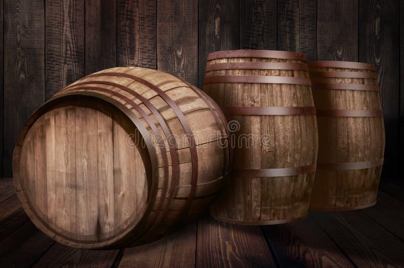 Fondo della birra della cantina del whiskey del barilotto immagini stock