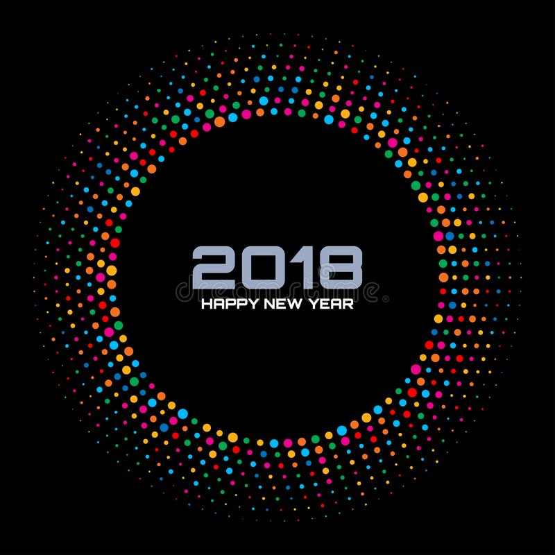 Fondo della carta del nuovo anno 2018 La discoteca variopinta luminosa accende la pagina di semitono del cerchio isolata su fondo illustrazione vettoriale