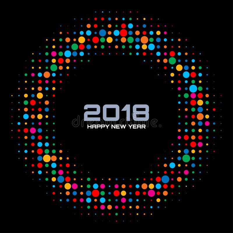 Fondo 2018 della carta di tecnologia del buon anno di vettore La discoteca variopinta luminosa accende la struttura di semitono d illustrazione vettoriale
