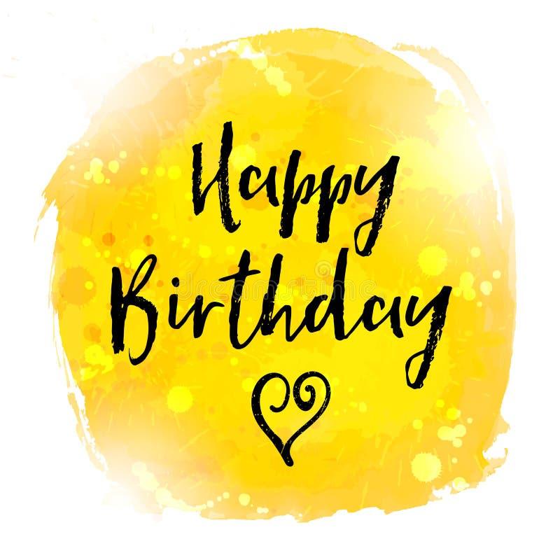 Fondo della cartolina d'auguri dell'acquerello della pittura di buon compleanno illustrazione vettoriale