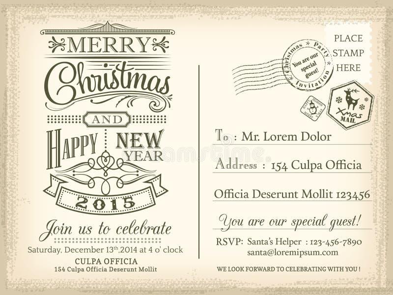Fondo della cartolina di festa d'annata del buon anno e di Natale illustrazione di stock