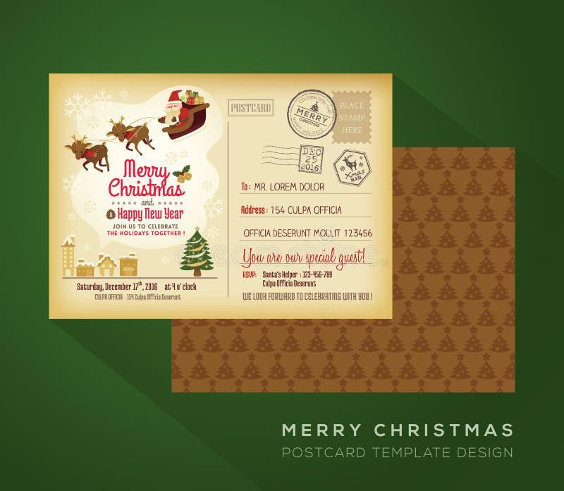 Fondo della cartolina di festa d'annata del buon anno e di Natale illustrazione vettoriale