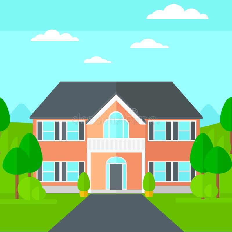 Fondo della casa con bei paesaggio e strada privata royalty illustrazione gratis