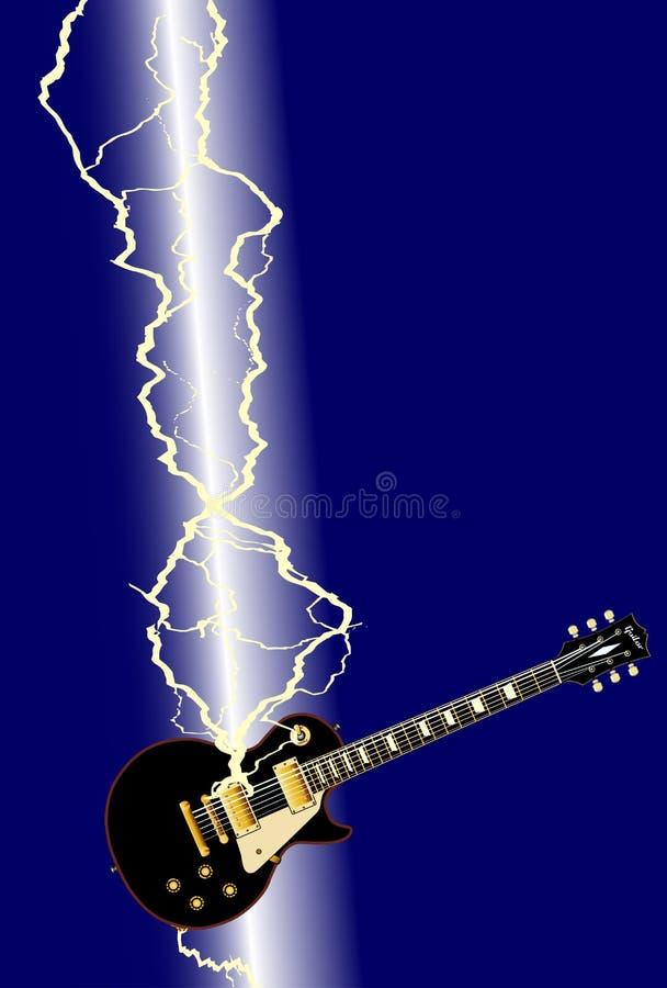 Fondo della chitarra elettrica del fulmine illustrazione vettoriale
