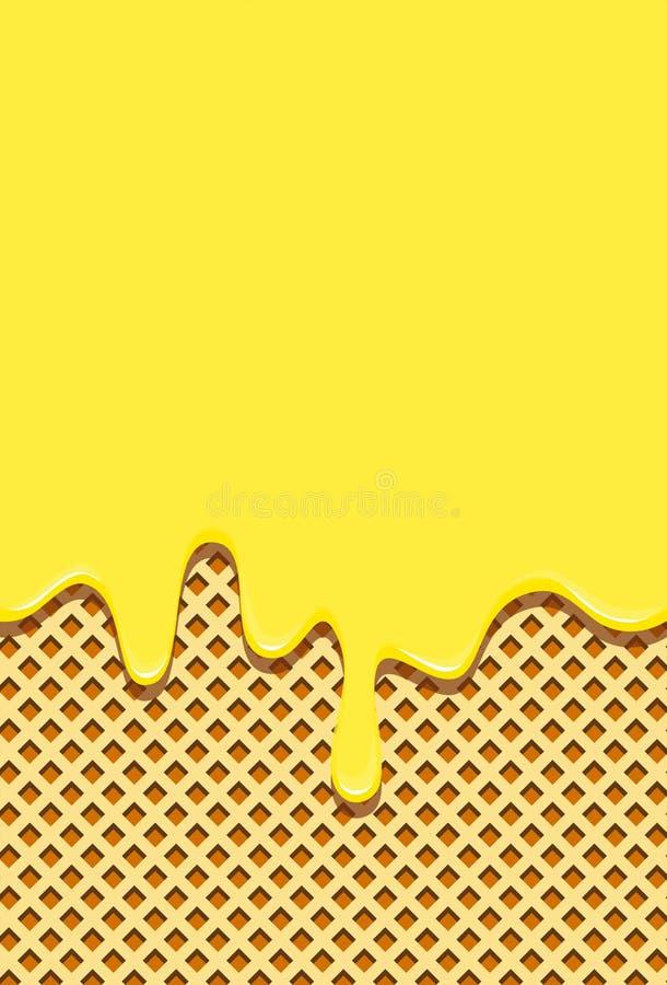 Fondo della cialda riempito di glassa gialla dolce Orizzontalmente vuotando sopra la glassa calda della cialda royalty illustrazione gratis