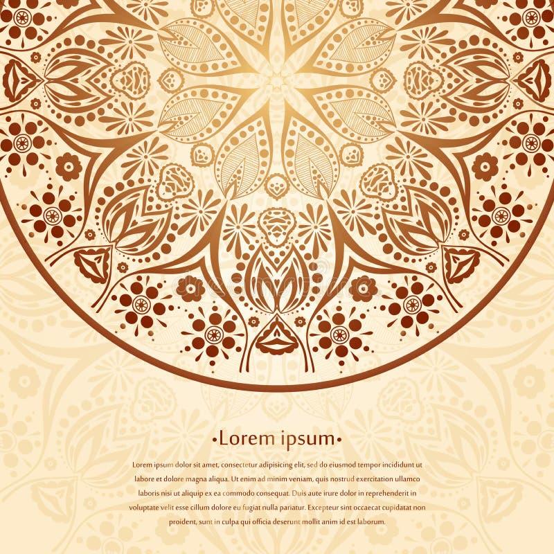 Fondo della circolare del fiore Un disegno stilizzato mandala Ornamento stilizzato del pizzo Ornamento floreale indiano illustrazione vettoriale