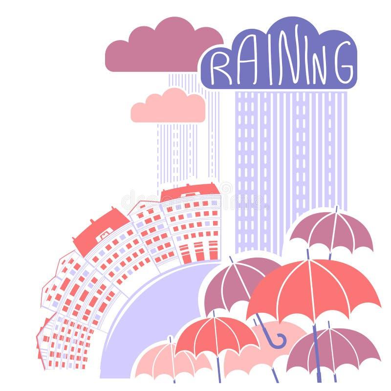 Fondo della città della pioggia con le nuvole e gli ombrelli illustrazione vettoriale