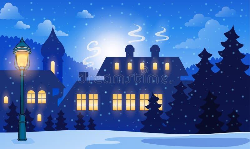 Fondo 1 della città di inverno illustrazione di stock