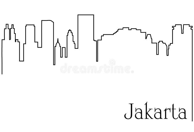 Fondo della città una di Jakarta dell'estratto del disegno a tratteggio illustrazione di stock