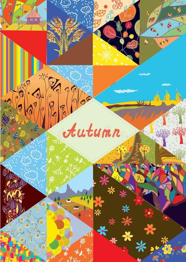 Fondo della copertura di autunno con la struttura e l'insieme degli elementi del collage - modelli, natura illustrazione vettoriale
