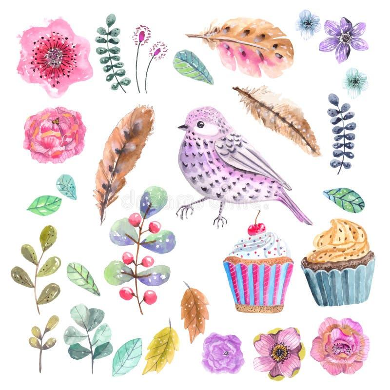 Fondo della corona del fiore dell'acquerello per bella progettazione royalty illustrazione gratis