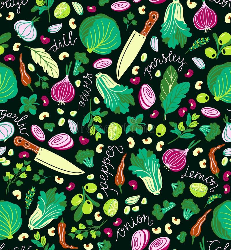 Fondo della cucina Coltelli e verdure Modello senza cuciture di vettore multicolore royalty illustrazione gratis
