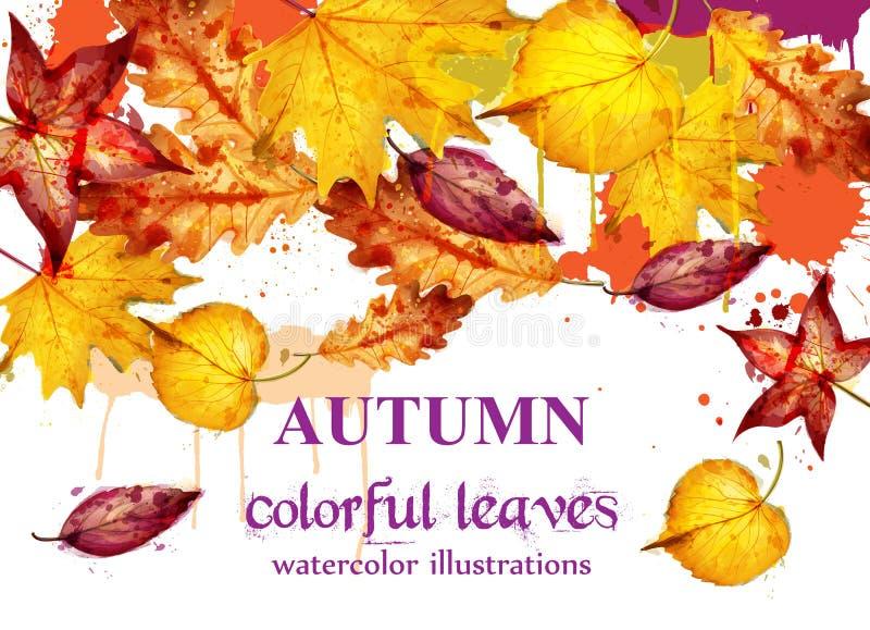 Fondo della decorazione di vettore dell'acquerello delle foglie di autunno Modello dell'insegna di caduta Colori gialli illustrazione di stock