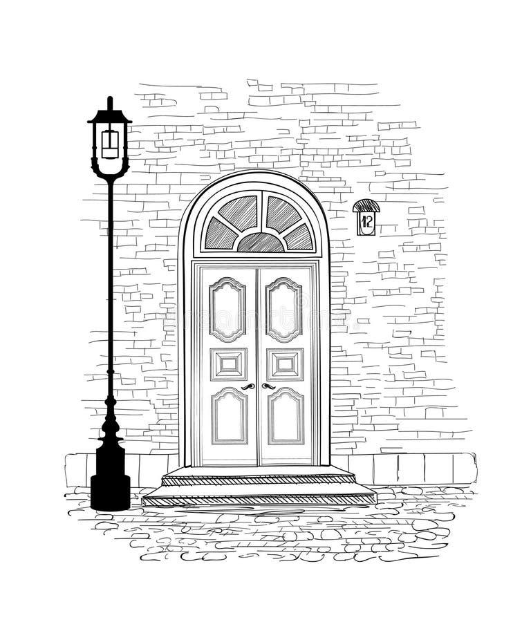 Fondo della entrata Illustrati del disegno della mano dell'entrata della porta della Camera illustrazione di stock