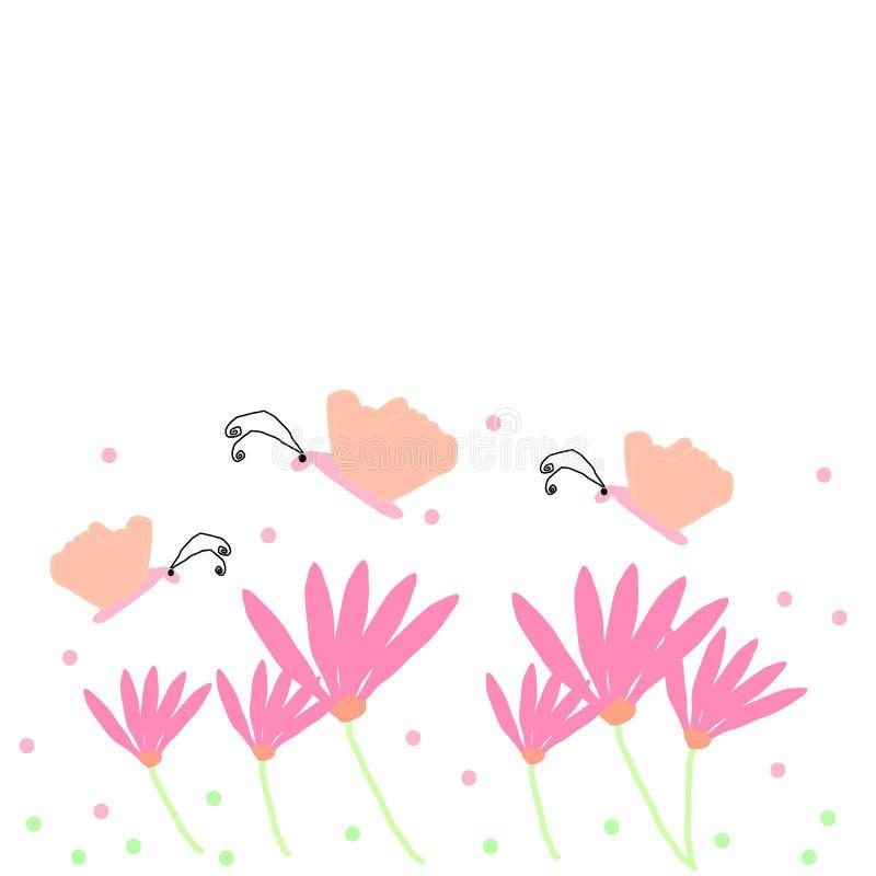 Fondo della farfalla e del fiore royalty illustrazione gratis