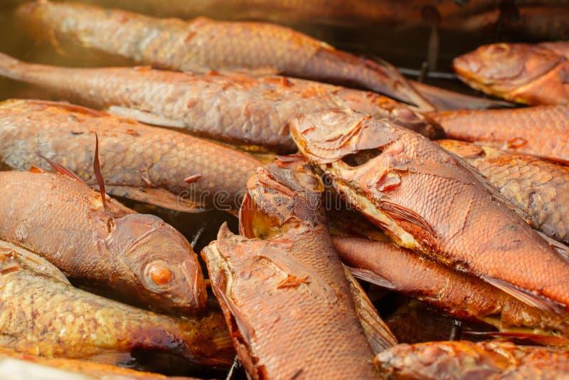 Fondo della fine affumicata dorata del pesce su fotografia stock libera da diritti