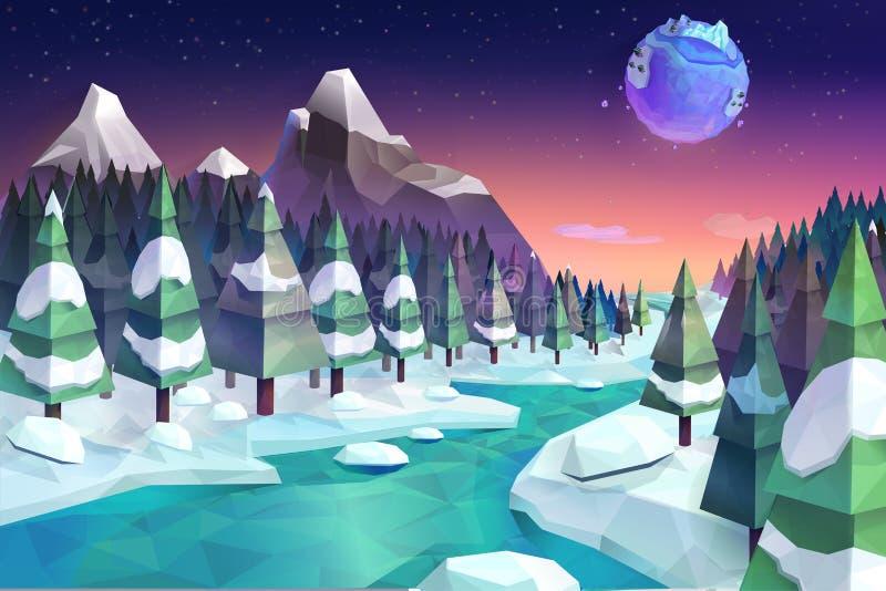 Fondo della foresta di inverno illustrazione di stock