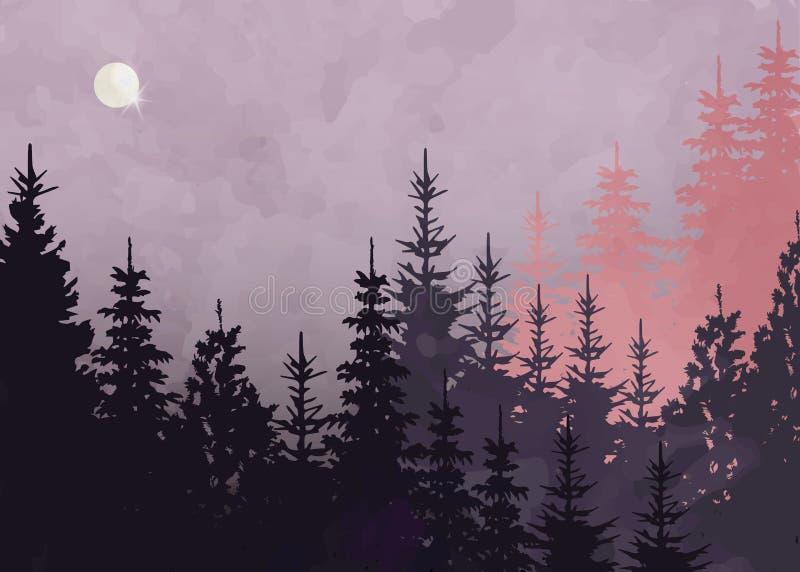 Fondo della foresta di inverno, paesaggio della montagna di vettore Abeti dell'albero di Natale con la luna piena ed il cielo ros illustrazione vettoriale