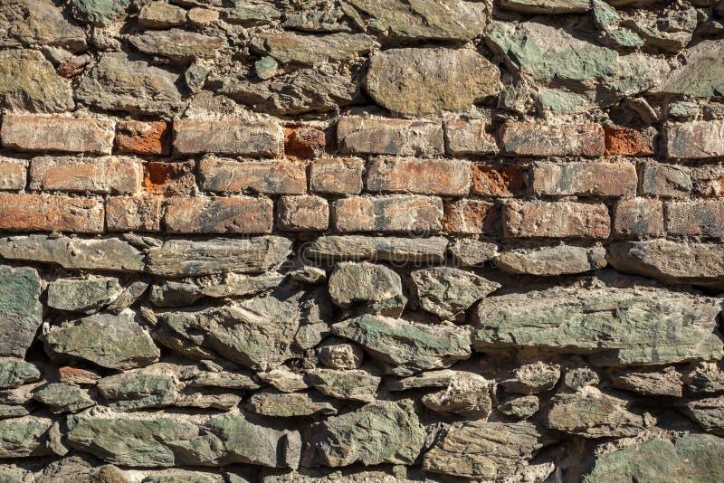 Fondo della foto di struttura del muro di mattoni e della pietra fotografie stock