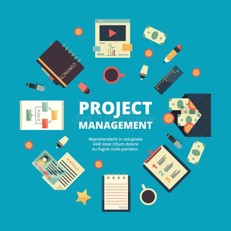 Fondo della gestione di progetti Concetto del gruppo perfetto dell'ufficio dirigere pianamente vettore annuale di lavoro di strat illustrazione vettoriale