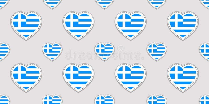 Fondo della Grecia Modello senza cuciture della bandiera greca Stikers di vettore Simboli dei cuori di amore Buona scelta per le  illustrazione vettoriale