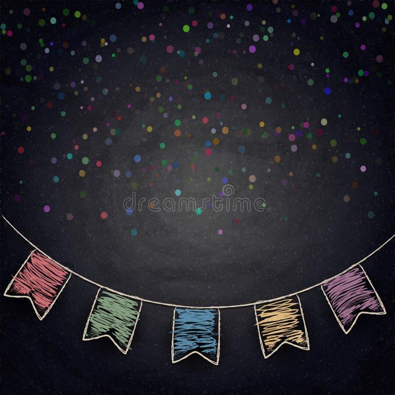 Fondo della lavagna con le bandiere della stamina del disegno royalty illustrazione gratis