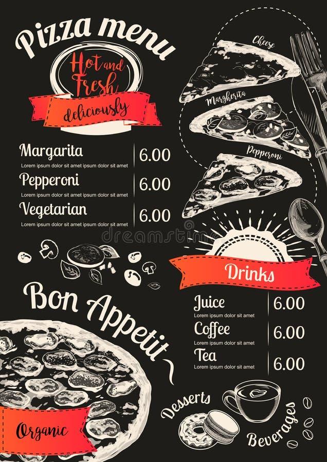 Fondo della lavagna della fetta di vettore della pizza del menu Vista superiore di scarabocchio Illustrazione disegnata a mano de royalty illustrazione gratis