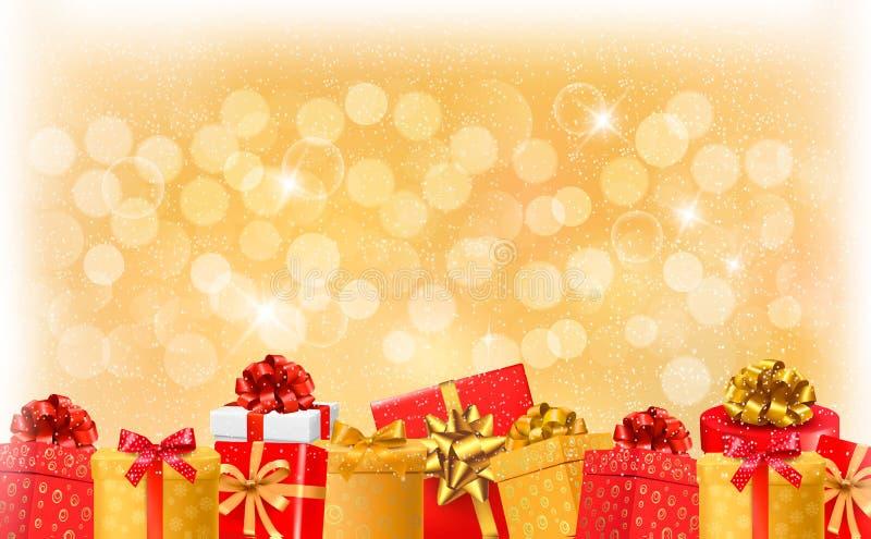 Fondo della luce di Natale con i contenitori di regalo e lo sno illustrazione di stock