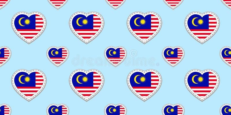 Fondo della Malesia Modello senza cuciture della bandiera malese Stikers di vettore Simboli dei cuori di amore Buona scelta per l royalty illustrazione gratis
