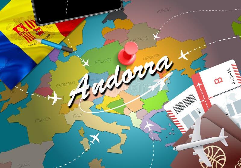 Fondo della mappa di concetto di viaggio dell'Andorra con gli aerei, biglietti Visi illustrazione vettoriale