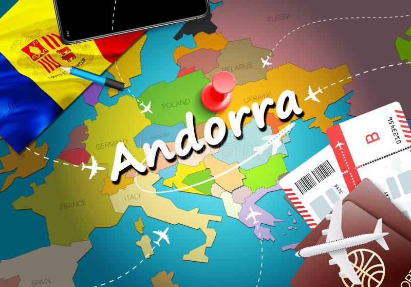 Fondo della mappa di concetto di viaggio dell'Andorra con gli aerei, biglietti Viaggio dell'Andorra di visita e concetto della de royalty illustrazione gratis