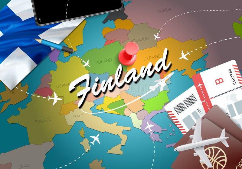 Fondo della mappa di concetto di viaggio della Finlandia con gli aerei, biglietti Visi illustrazione vettoriale