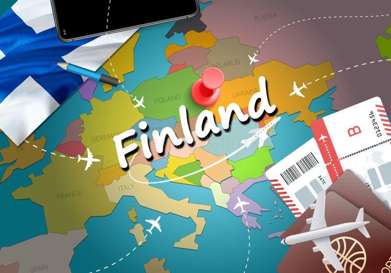 Fondo della mappa di concetto di viaggio della Finlandia con gli aerei, biglietti Visi royalty illustrazione gratis