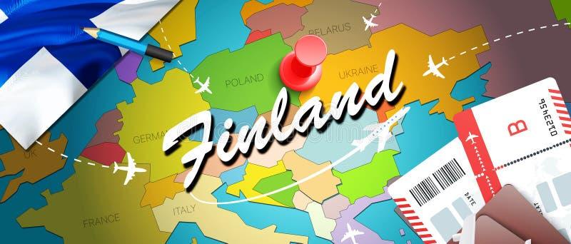 Fondo della mappa di concetto di viaggio della Finlandia con gli aerei, biglietti Viaggio della Finlandia di visita e concetto de illustrazione vettoriale