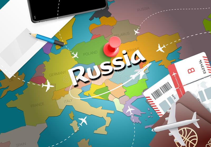 Fondo della mappa di concetto di viaggio della Russia con gli aerei, biglietti chiamata illustrazione vettoriale