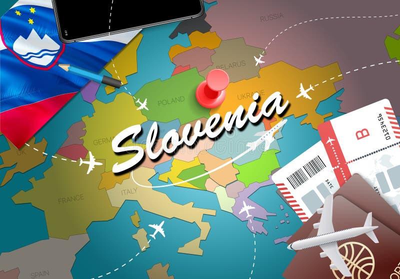Fondo della mappa di concetto di viaggio della Slovenia con gli aerei, biglietti Visi illustrazione di stock